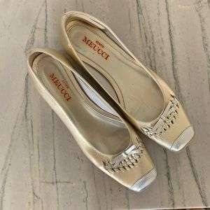 Seats Meucci Gold and Silver Kitten Heel Loafer